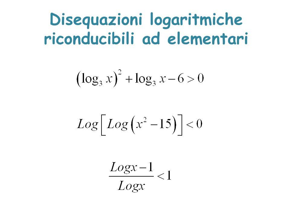 Disequazioni logaritmiche riconducibili ad elementari