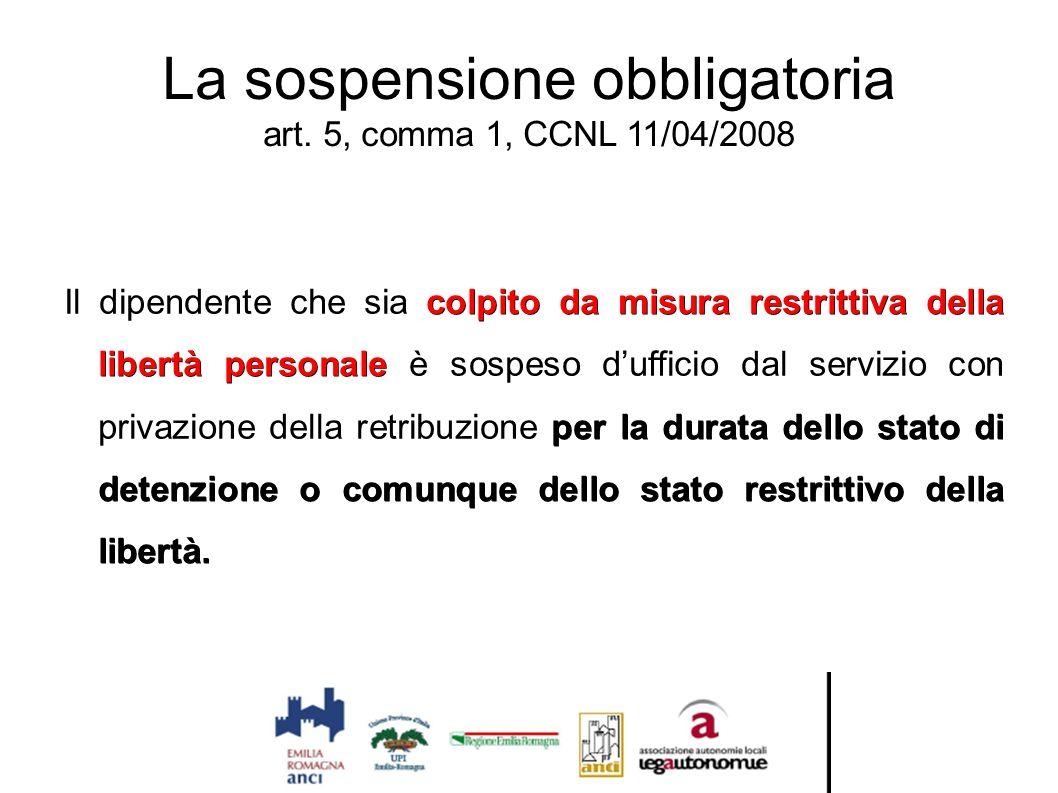 La sospensione obbligatoria art. 5, comma 1, CCNL 11/04/2008