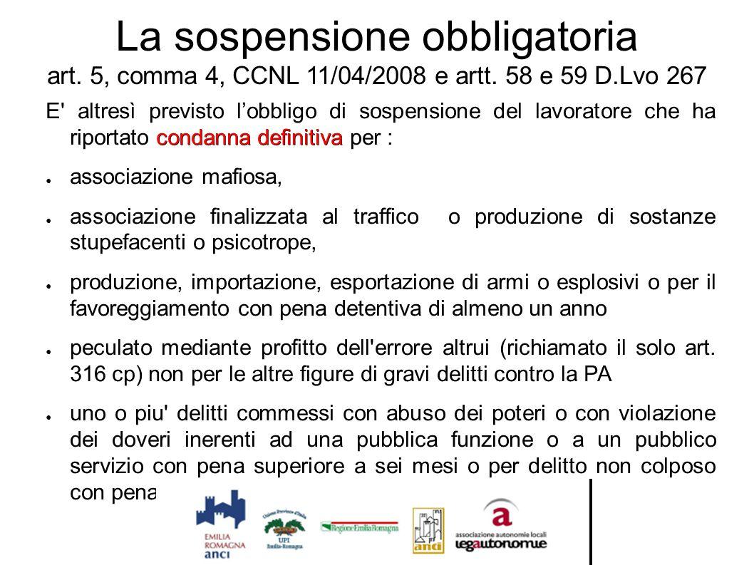 La sospensione obbligatoria art. 5, comma 4, CCNL 11/04/2008 e artt