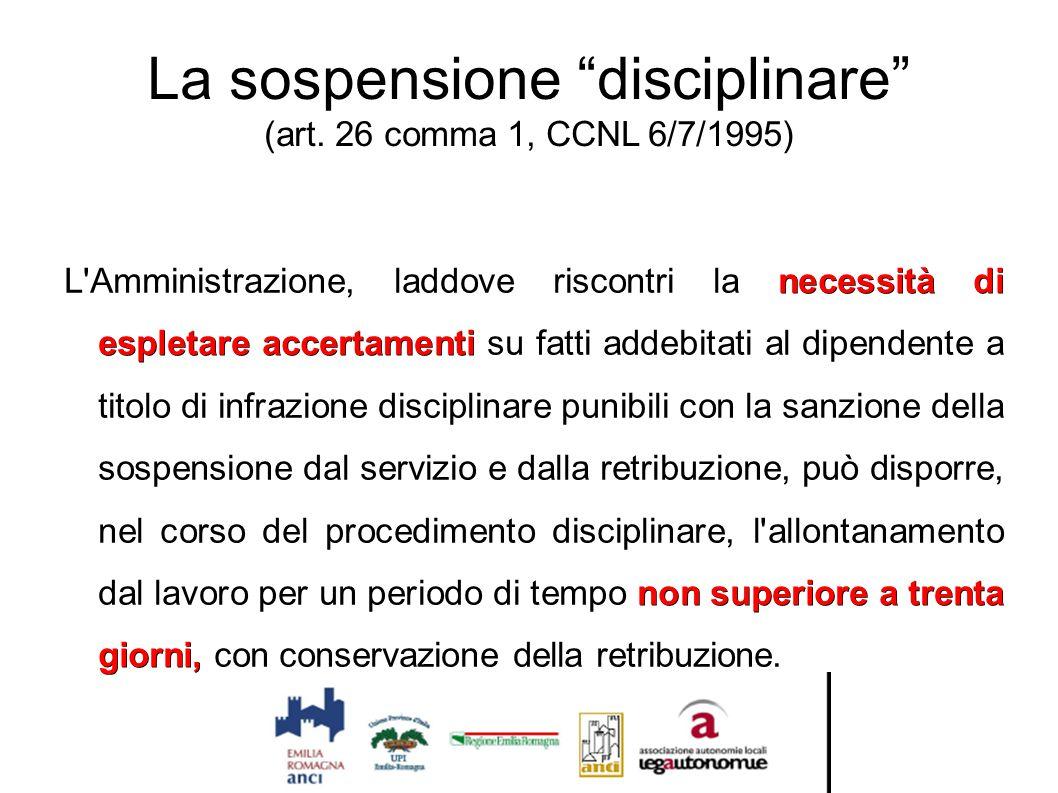 La sospensione disciplinare (art. 26 comma 1, CCNL 6/7/1995)