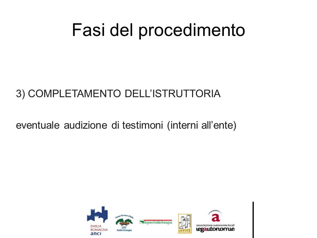 Fasi del procedimento 3) COMPLETAMENTO DELL'ISTRUTTORIA