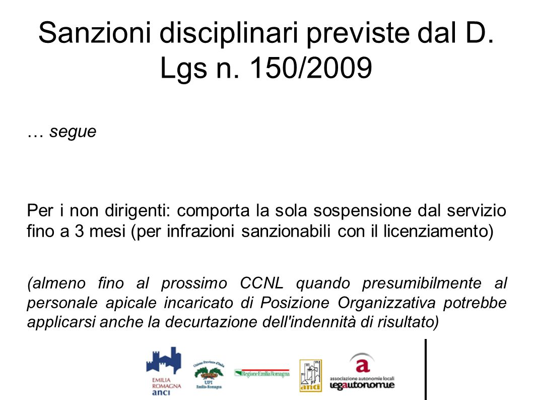 Sanzioni disciplinari previste dal D. Lgs n. 150/2009