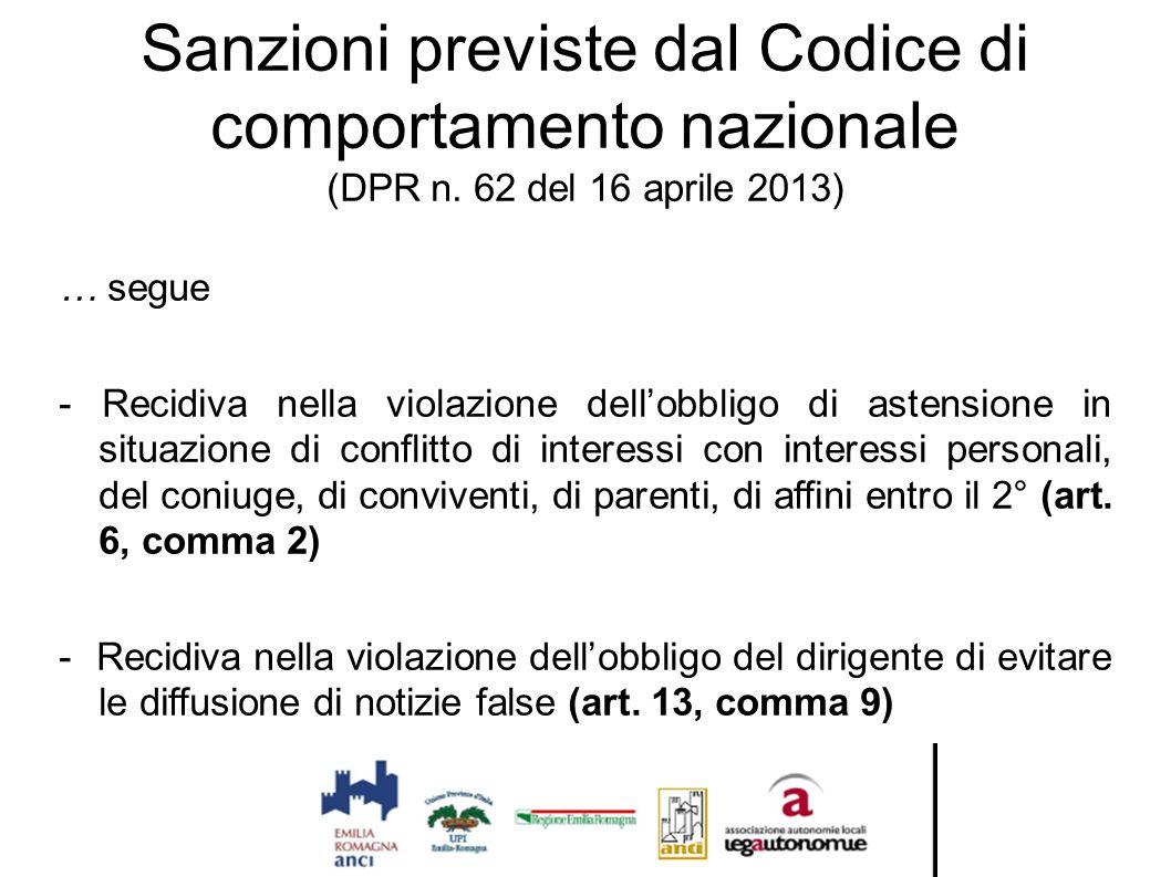 Sanzioni previste dal Codice di comportamento nazionale (DPR n