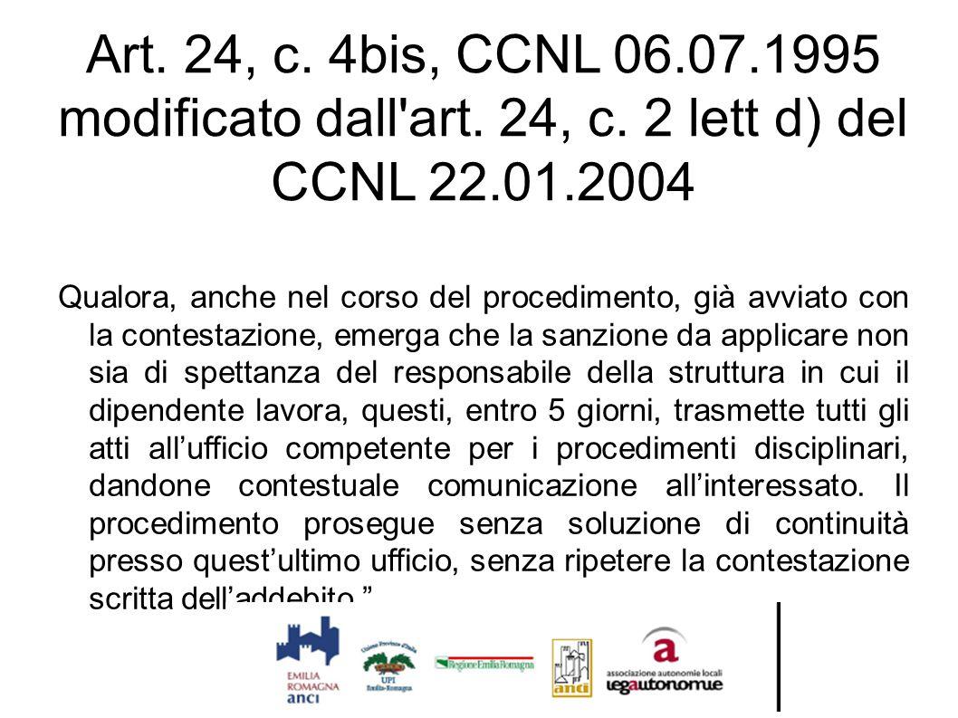 Art. 24, c. 4bis, CCNL 06. 07. 1995 modificato dall art. 24, c
