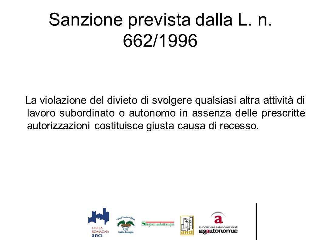 Sanzione prevista dalla L. n. 662/1996