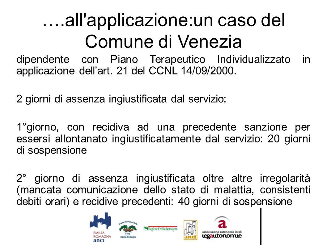 ….all applicazione:un caso del Comune di Venezia