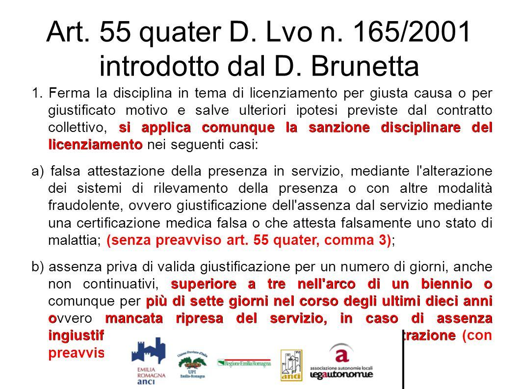 Art. 55 quater D. Lvo n. 165/2001 introdotto dal D. Brunetta