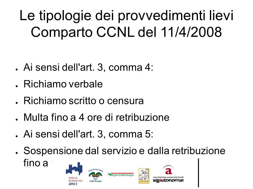 Le tipologie dei provvedimenti lievi Comparto CCNL del 11/4/2008