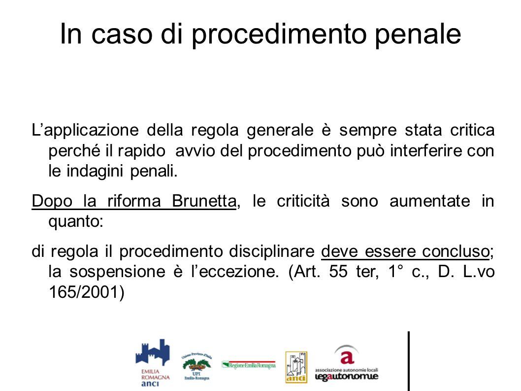 In caso di procedimento penale