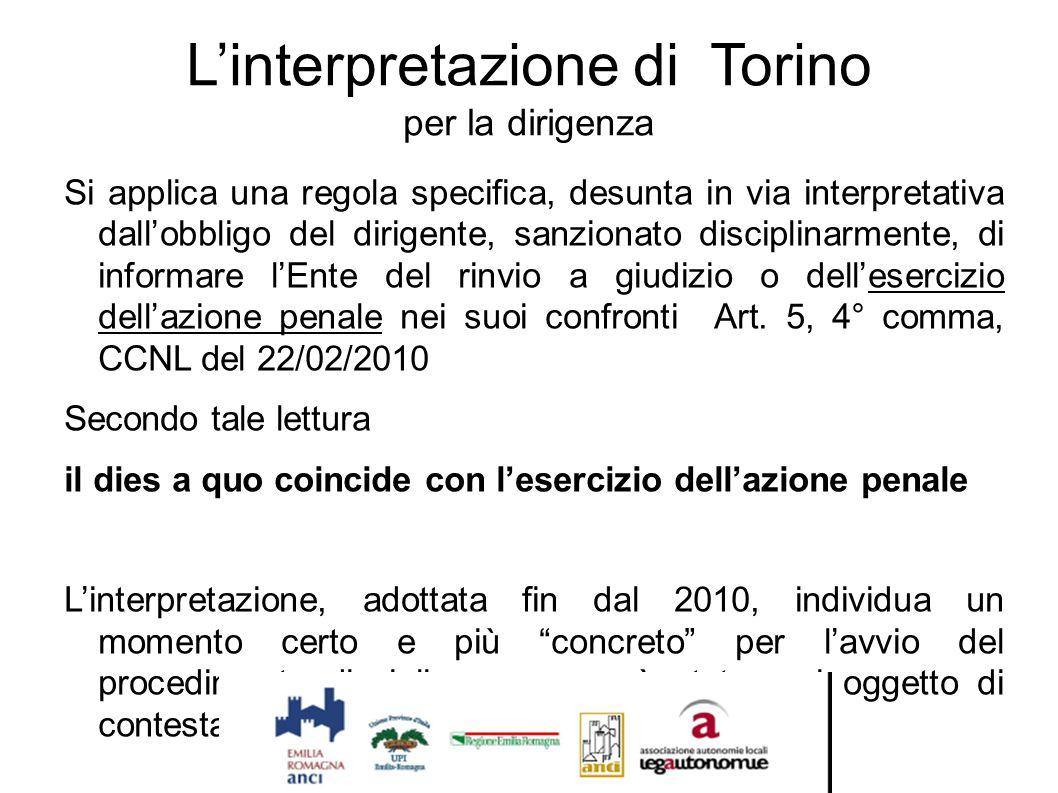 L'interpretazione di Torino per la dirigenza