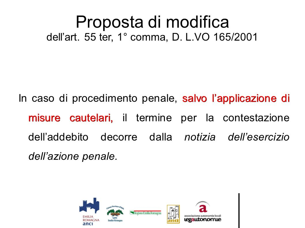 Proposta di modifica dell'art. 55 ter, 1° comma, D. L.VO 165/2001