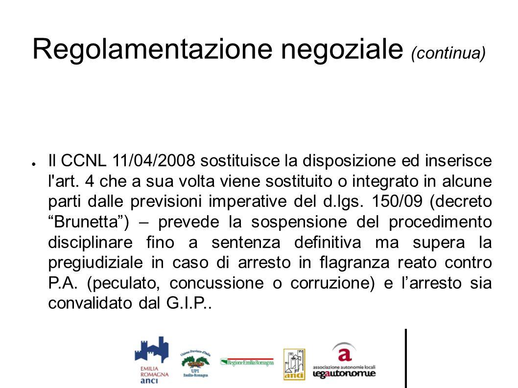 Regolamentazione negoziale (continua)