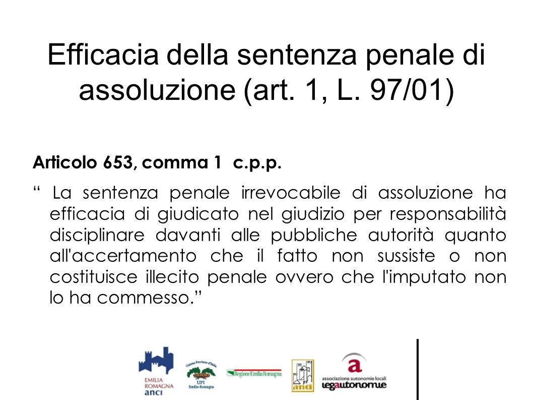 Efficacia della sentenza penale di assoluzione (art. 1, L. 97/01)