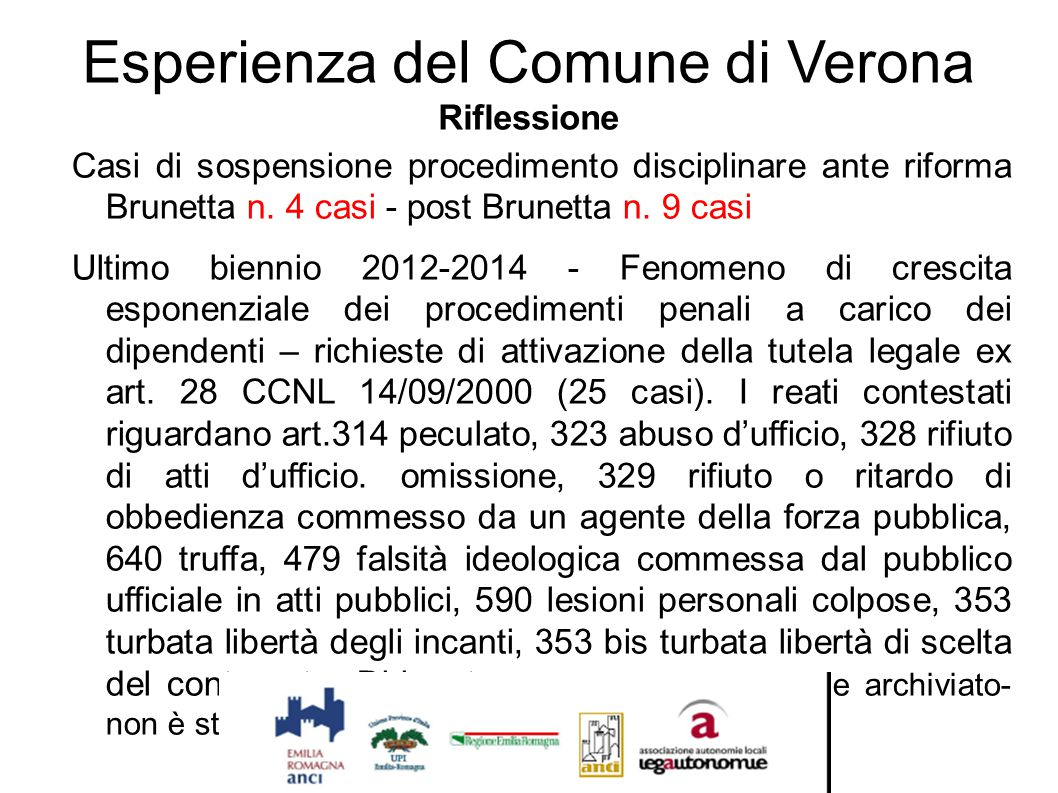 Esperienza del Comune di Verona Riflessione