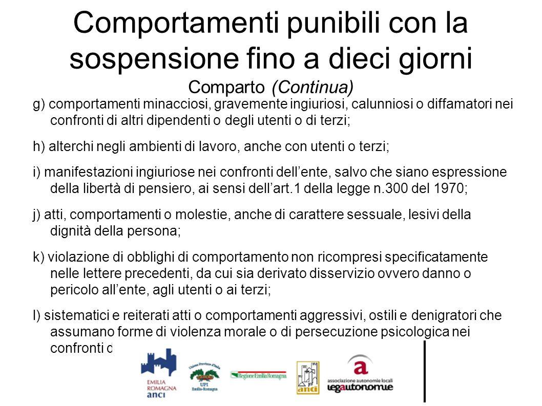 Comportamenti punibili con la sospensione fino a dieci giorni Comparto (Continua)
