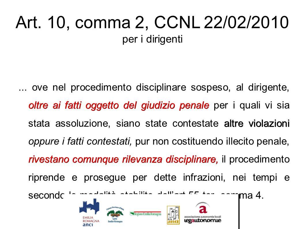 Art. 10, comma 2, CCNL 22/02/2010 per i dirigenti