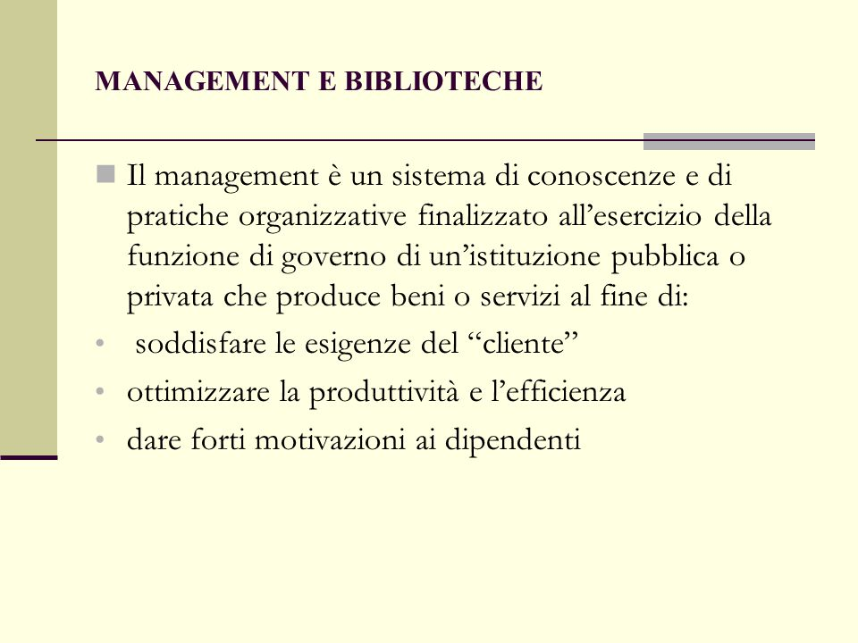 MANAGEMENT E BIBLIOTECHE