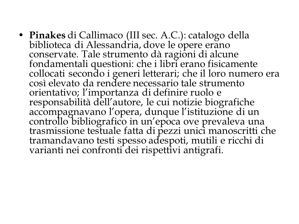 Pinakes di Callimaco (III sec. A. C