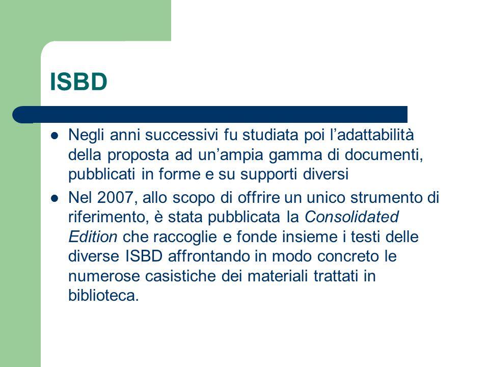 ISBD Negli anni successivi fu studiata poi l'adattabilità della proposta ad un'ampia gamma di documenti, pubblicati in forme e su supporti diversi.
