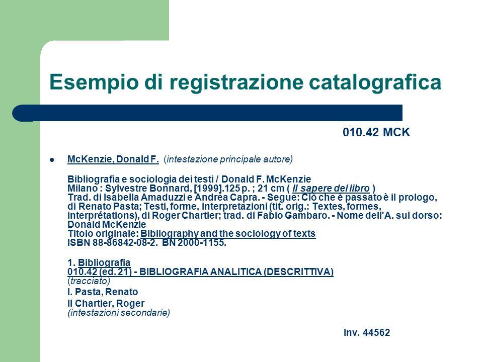 Esempio di registrazione catalografica
