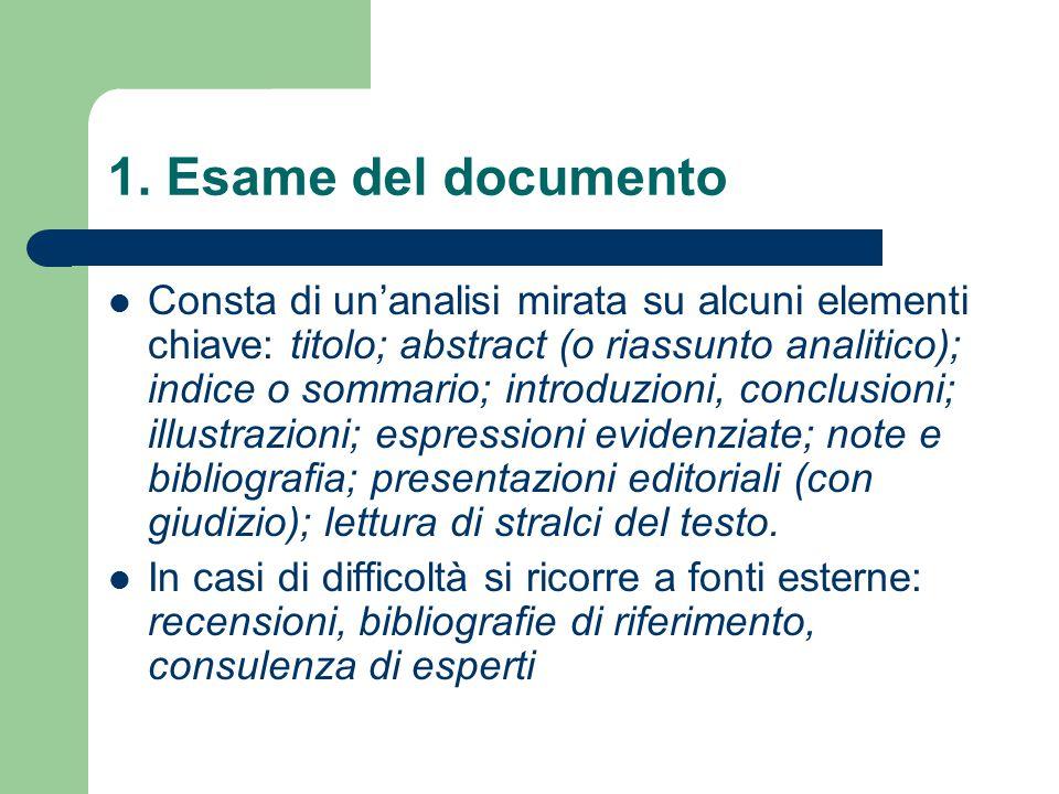 1. Esame del documento