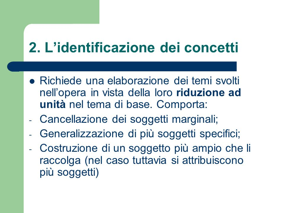 2. L'identificazione dei concetti