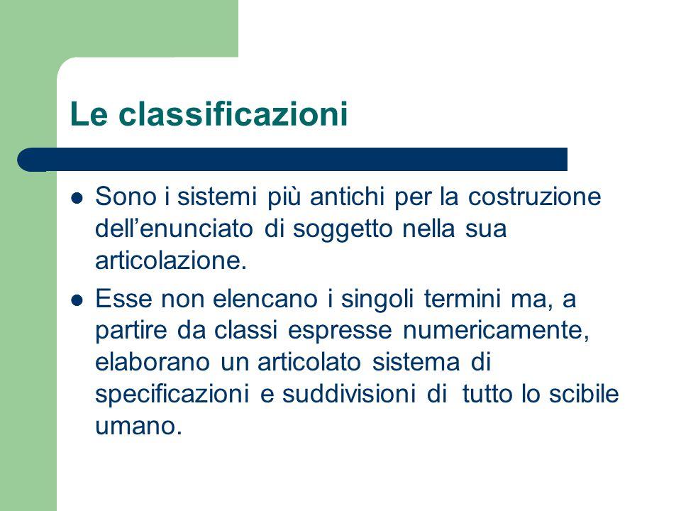 Le classificazioni Sono i sistemi più antichi per la costruzione dell'enunciato di soggetto nella sua articolazione.