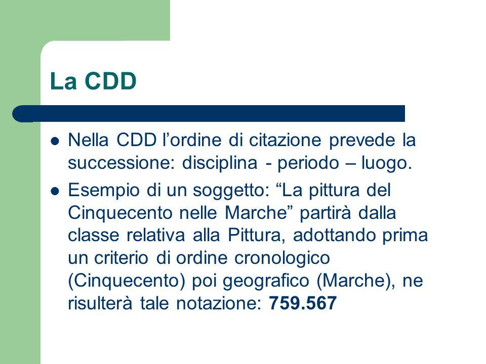 La CDD Nella CDD l'ordine di citazione prevede la successione: disciplina - periodo – luogo.