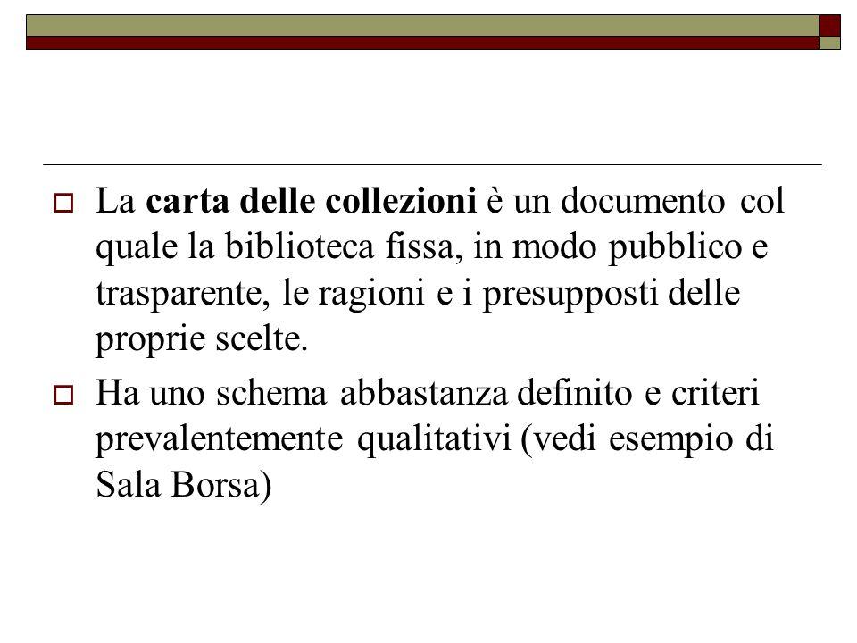 La carta delle collezioni è un documento col quale la biblioteca fissa, in modo pubblico e trasparente, le ragioni e i presupposti delle proprie scelte.