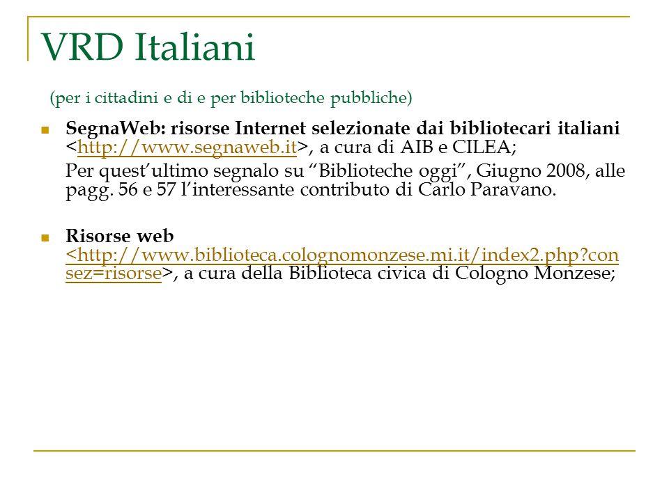 VRD Italiani (per i cittadini e di e per biblioteche pubbliche)