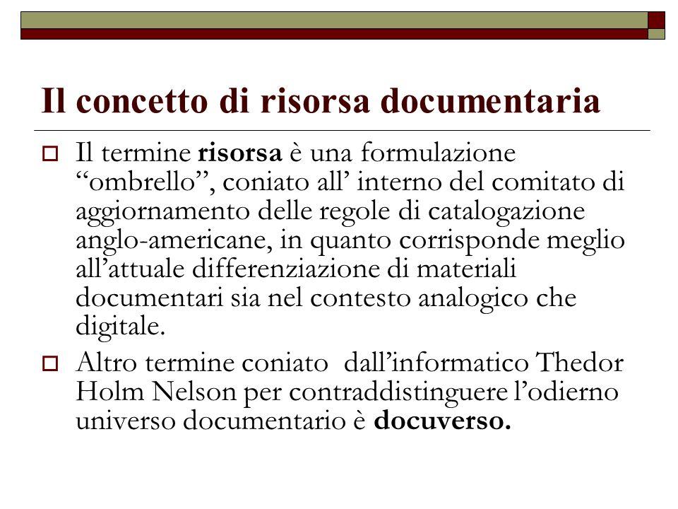 Il concetto di risorsa documentaria