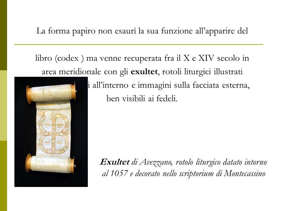 La forma papiro non esaurì la sua funzione all'apparire del