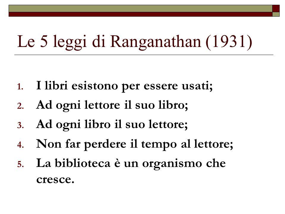 Le 5 leggi di Ranganathan (1931)