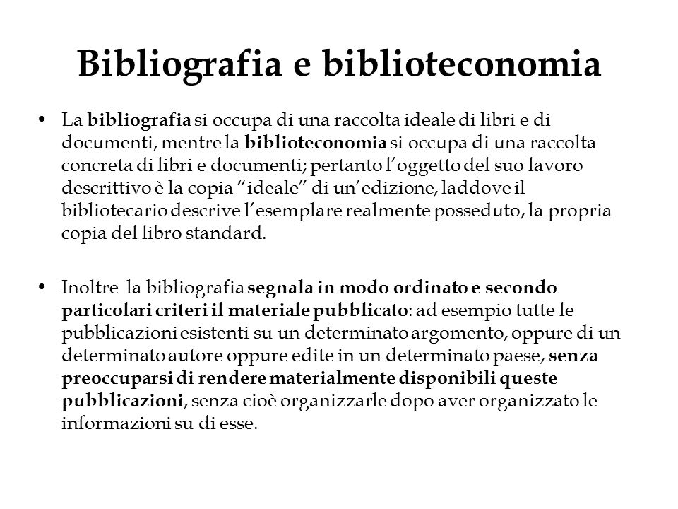 Bibliografia e biblioteconomia