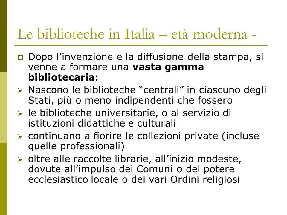 Le biblioteche in Italia – età moderna -