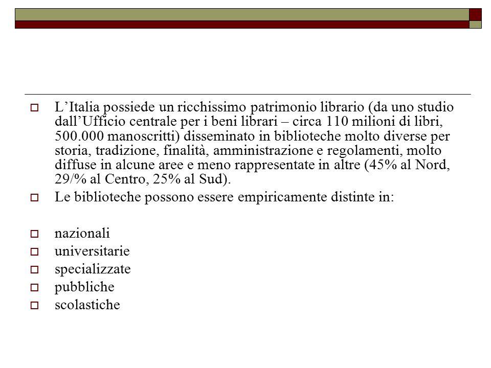 L'Italia possiede un ricchissimo patrimonio librario (da uno studio dall'Ufficio centrale per i beni librari – circa 110 milioni di libri, 500.000 manoscritti) disseminato in biblioteche molto diverse per storia, tradizione, finalità, amministrazione e regolamenti, molto diffuse in alcune aree e meno rappresentate in altre (45% al Nord, 29/% al Centro, 25% al Sud).