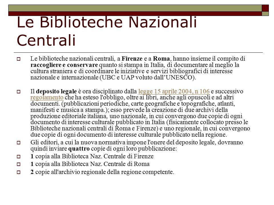 Le Biblioteche Nazionali Centrali