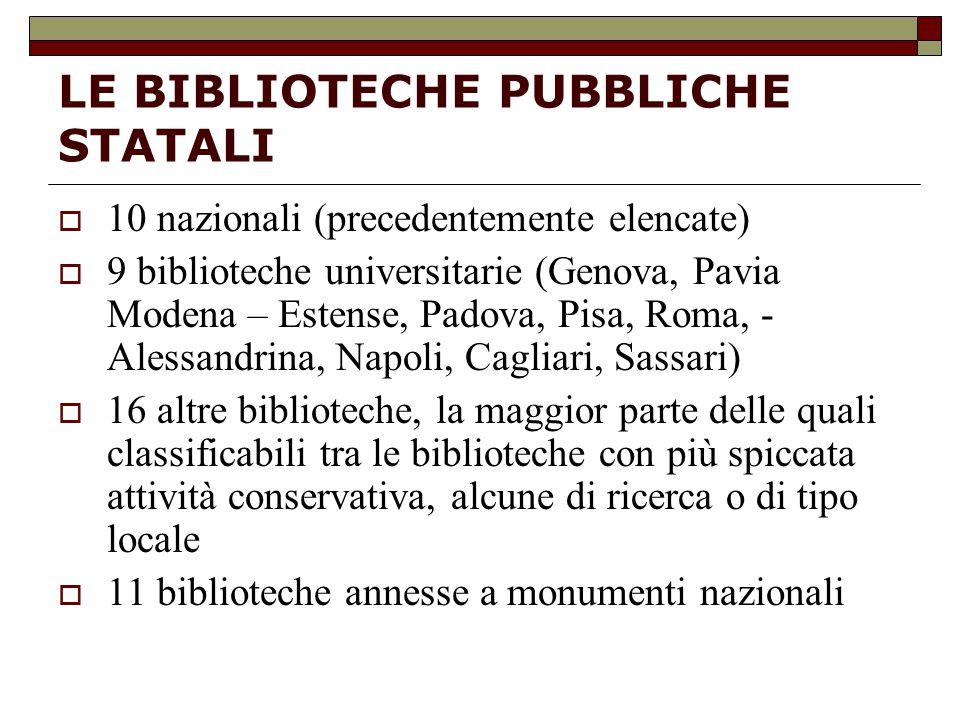 LE BIBLIOTECHE PUBBLICHE STATALI