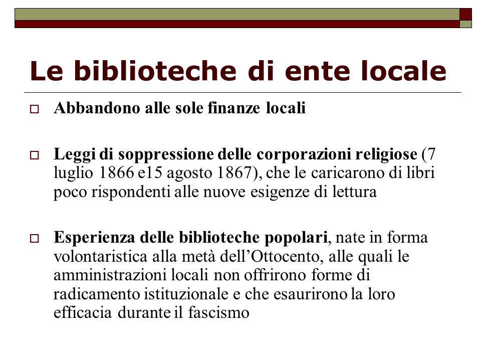 Le biblioteche di ente locale