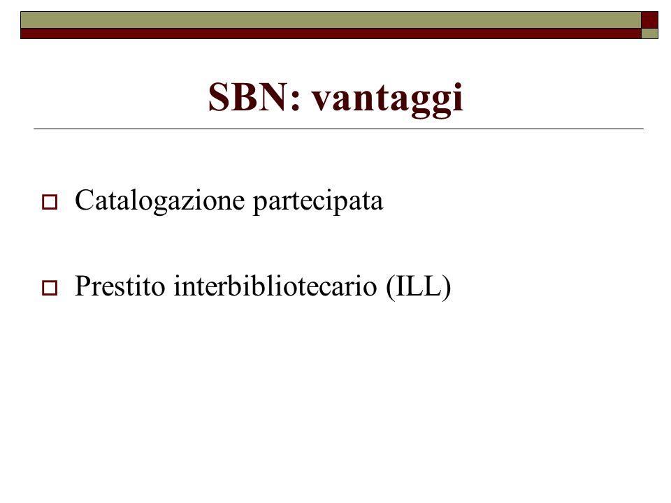 SBN: vantaggi Catalogazione partecipata