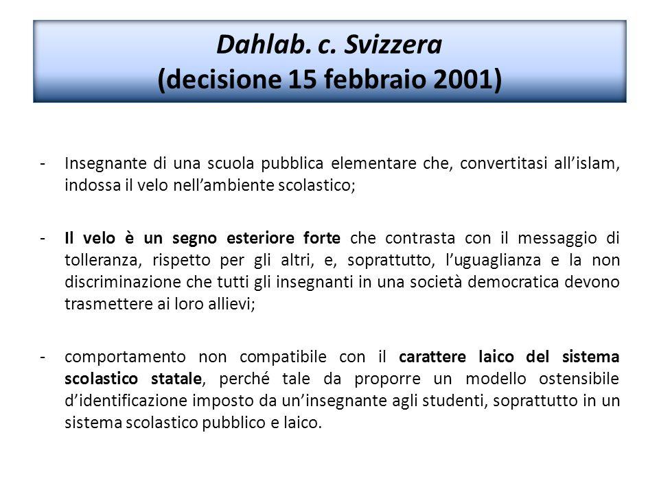 Dahlab. c. Svizzera (decisione 15 febbraio 2001)
