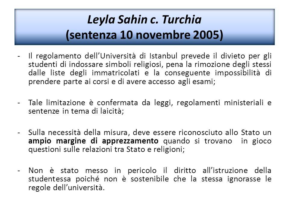 Leyla Sahin c. Turchia (sentenza 10 novembre 2005)