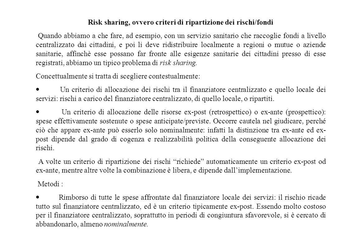 Risk sharing, ovvero criteri di ripartizione dei rischi/fondi