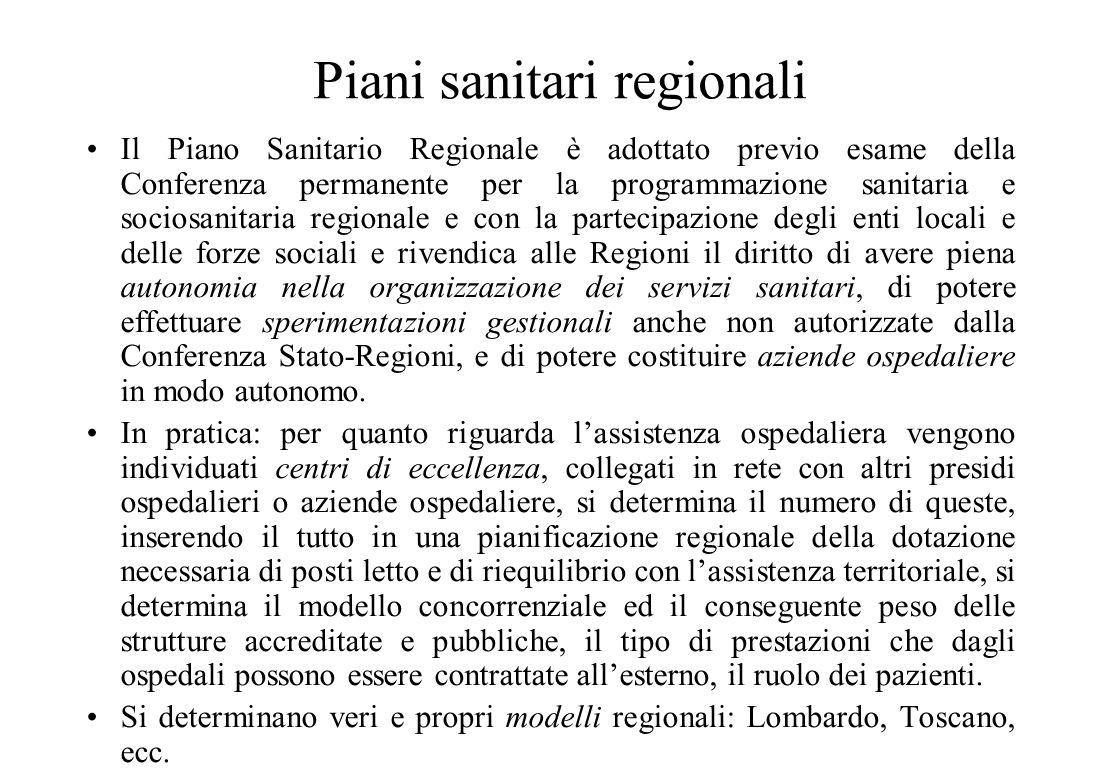 Piani sanitari regionali
