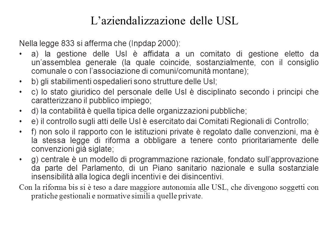 L'aziendalizzazione delle USL