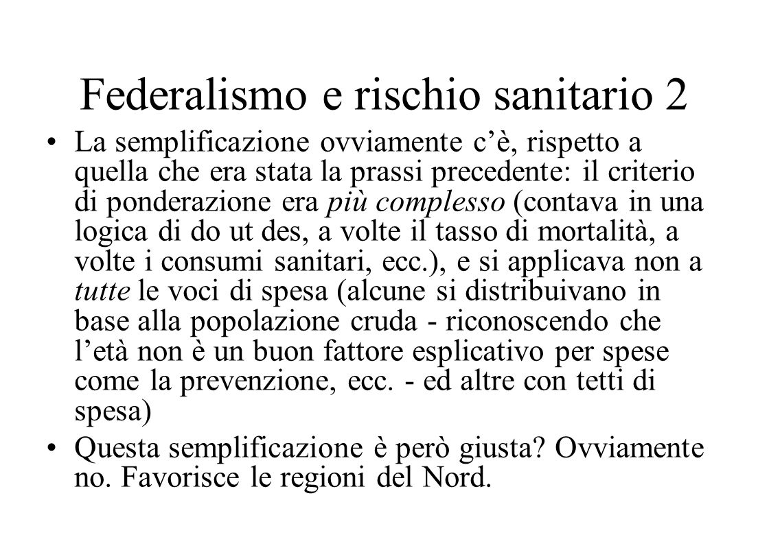 Federalismo e rischio sanitario 2