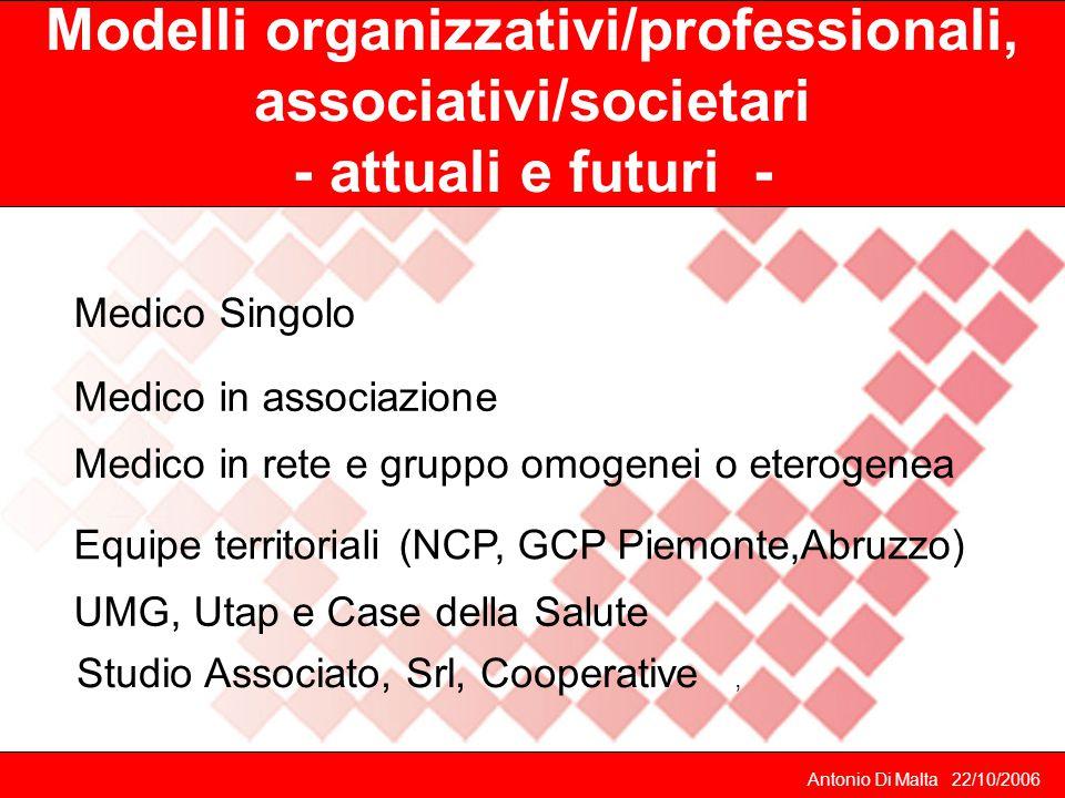 Modelli organizzativi/professionali, associativi/societari - attuali e futuri -
