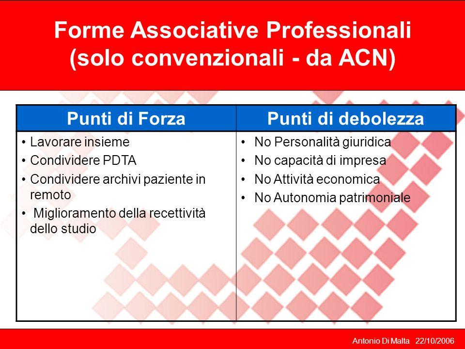 Forme Associative Professionali (solo convenzionali - da ACN)