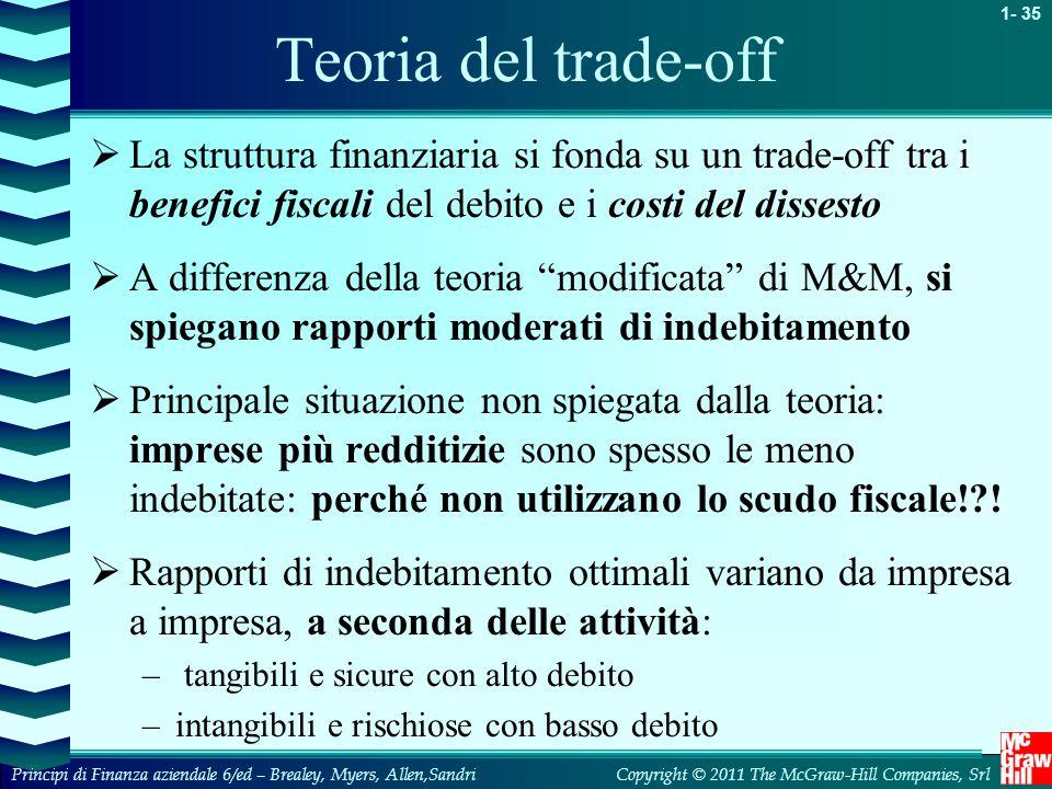 Teoria del trade-off La struttura finanziaria si fonda su un trade-off tra i benefici fiscali del debito e i costi del dissesto.