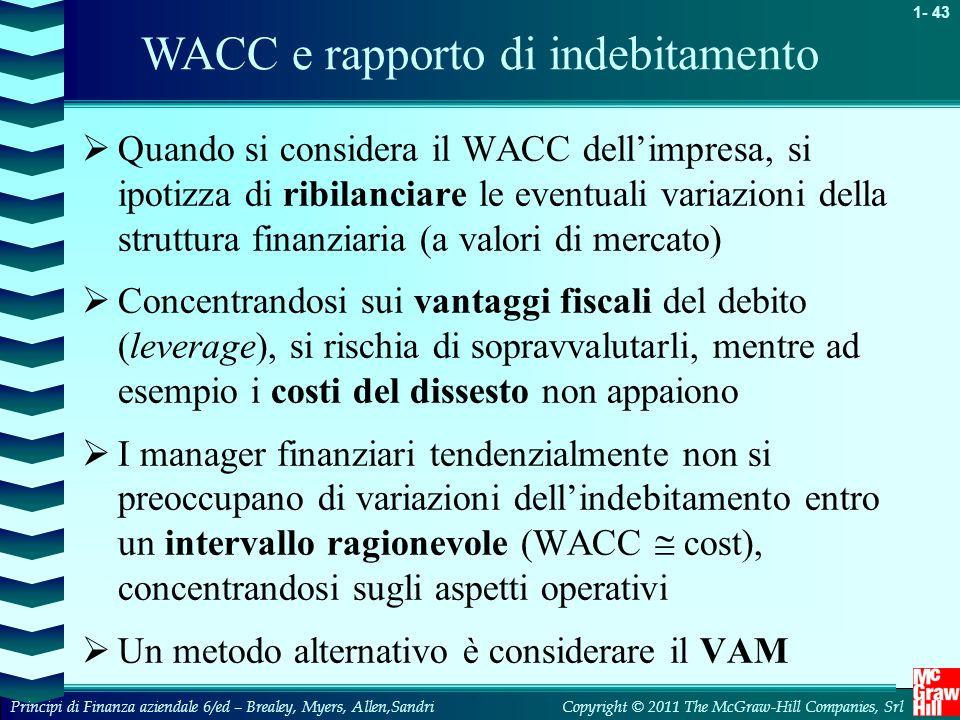 WACC e rapporto di indebitamento